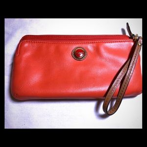 Coach Double Zip Leather Wallet Wristlet - Orange